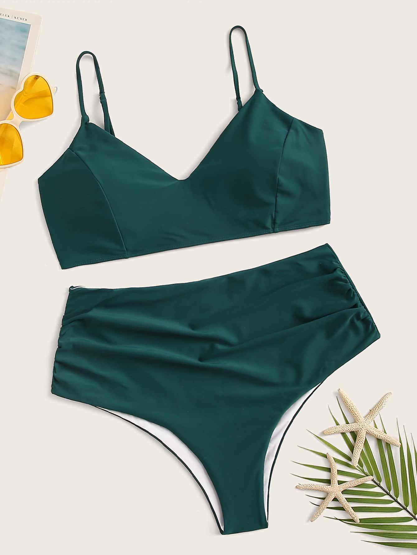 Фото - Бикини размера плюс с высокой талией от SheIn цвет зелёные