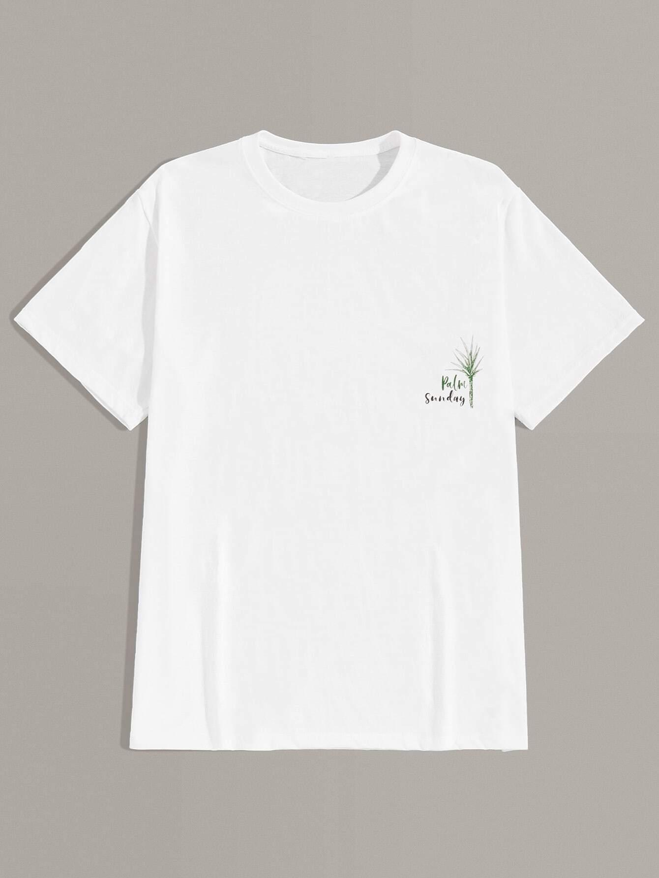 Фото - Мужская футболка с оригинальным принтом от SheIn белого цвета