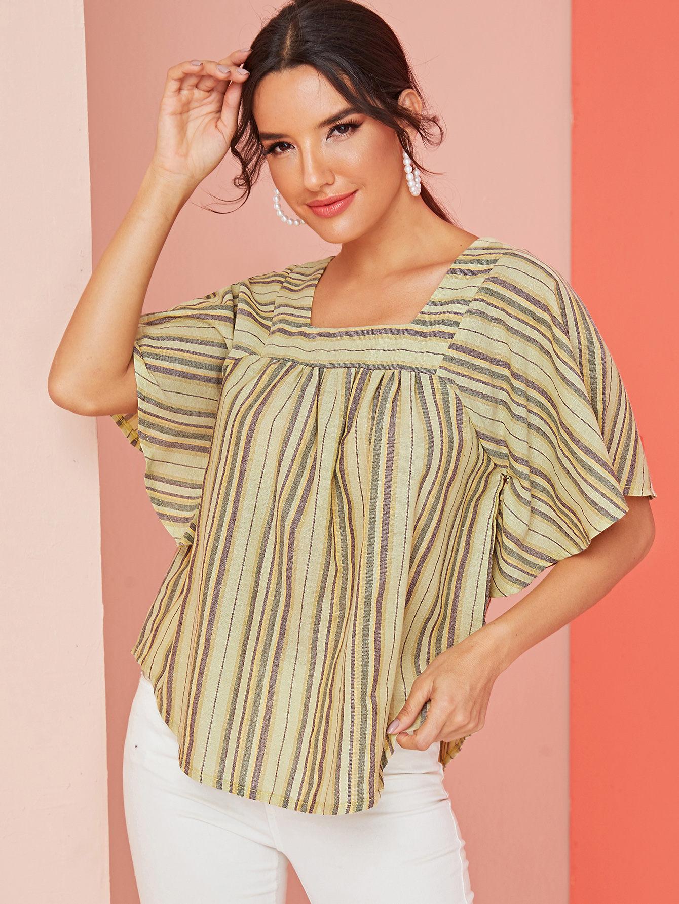 Фото - Блузу в полоску с квадратным вырезом от SheIn цвет многоцветный