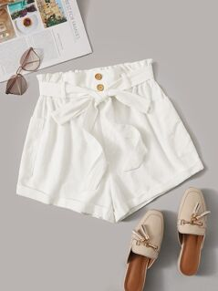 Paperbag Waist Pocket Patch Rolled Shorts