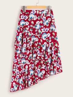 Floral Print High Waist Double Layer Asymmetrical Hem Skirt