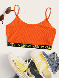 Neon Orange Letter Hem Rib-knit Crop Cami Top