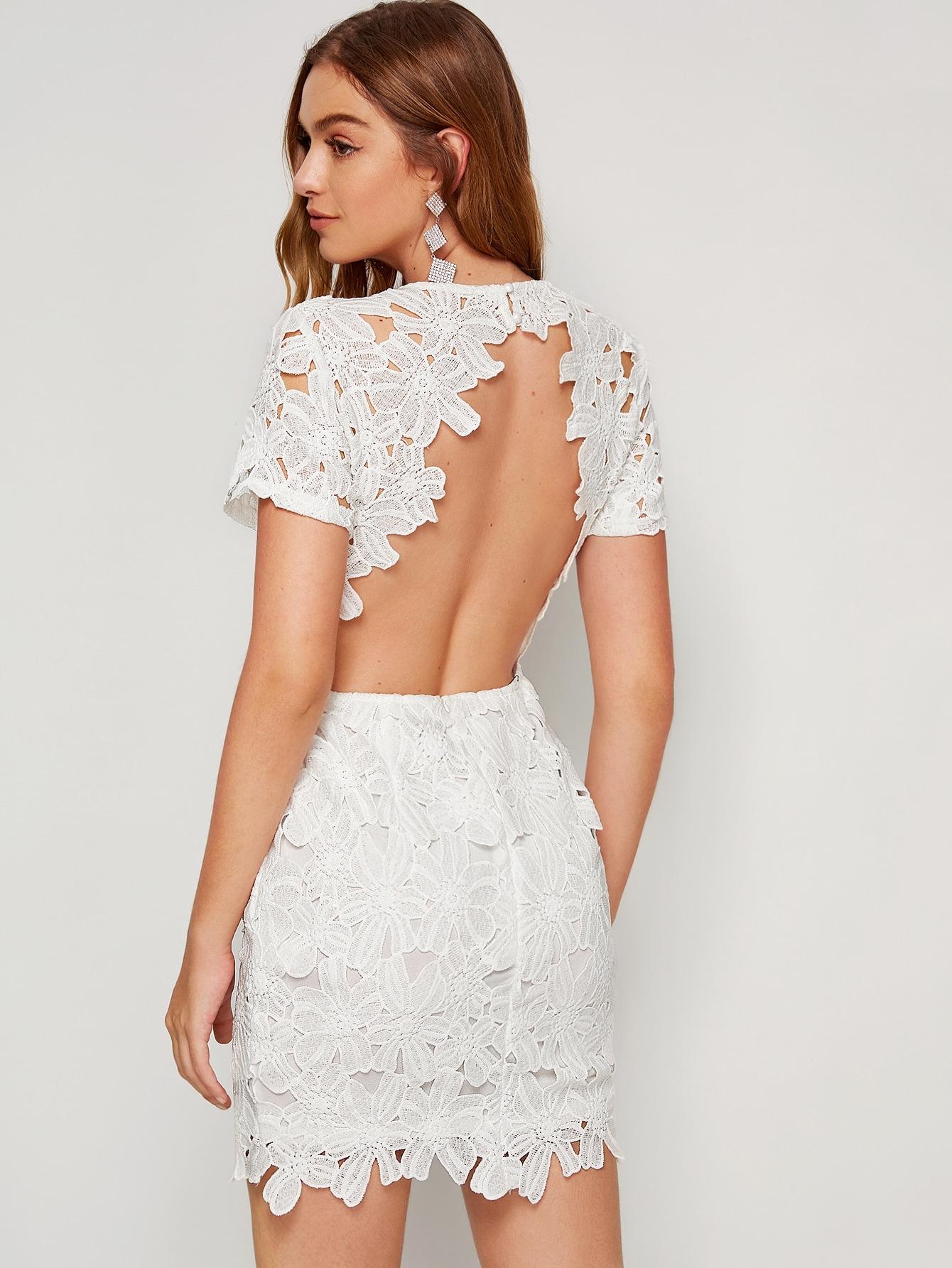 Фото - Облегающее кружевное платье с открытой спинкой от SheIn цвет белые