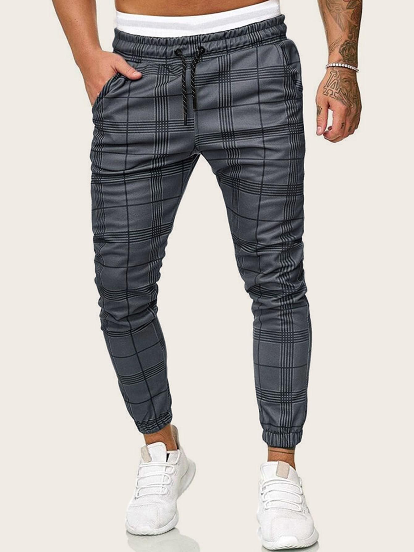 Фото - Мужские брюки в клетку с поясом от SheIn серого цвета