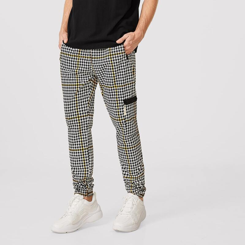 Guys Houndstooth Zip Pants, Black and white