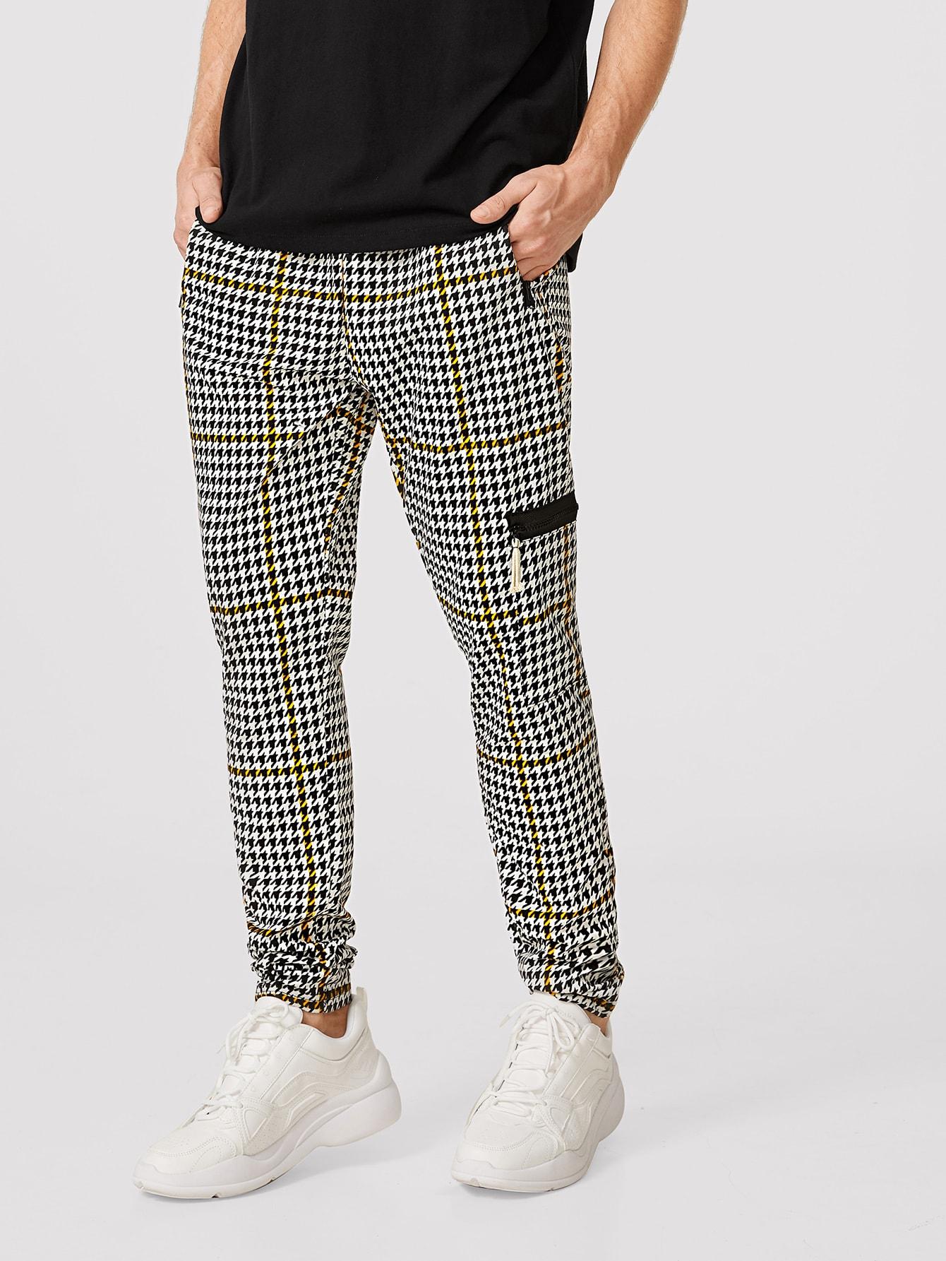 Фото - Мужские брюки с молнией от SheIn цвет чёрнобелые