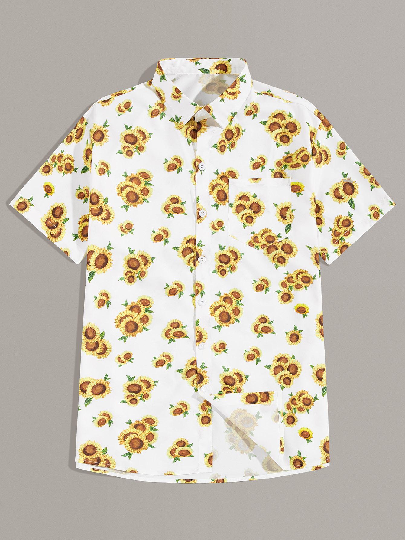 Фото - Мужская однобортная рубашка с карманом и графическим принтом от SheIn цвет многоцветный