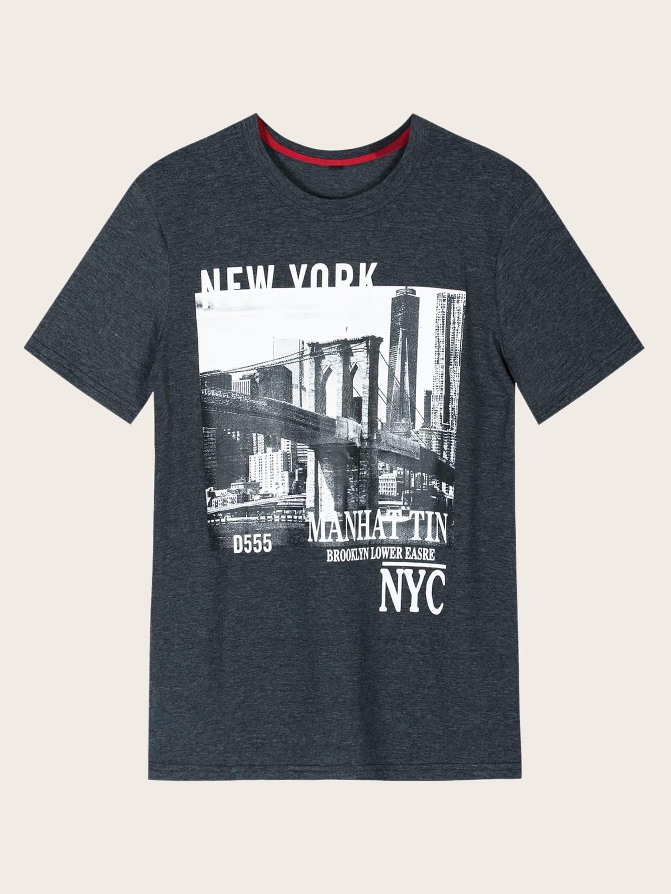 Фото - Мужская футболка с текстовым и графическим принтом от SheIn серого цвета