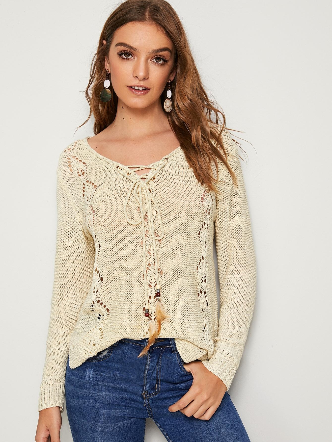 Фото - Асимметричный свитер с кулиской и разрезом сбоку от SheIn бежевого цвета
