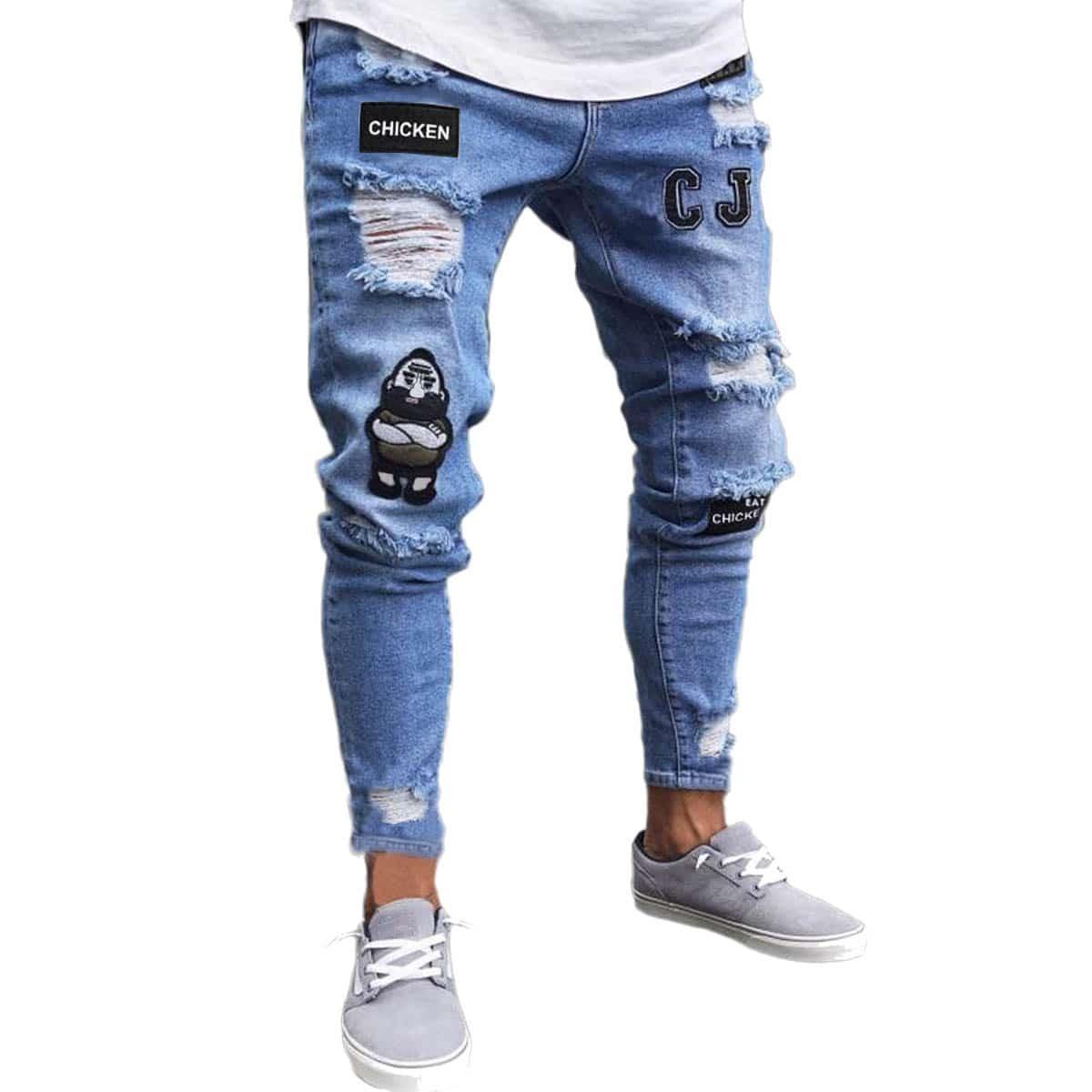 Blauw Casual Heren Jeans Appliques