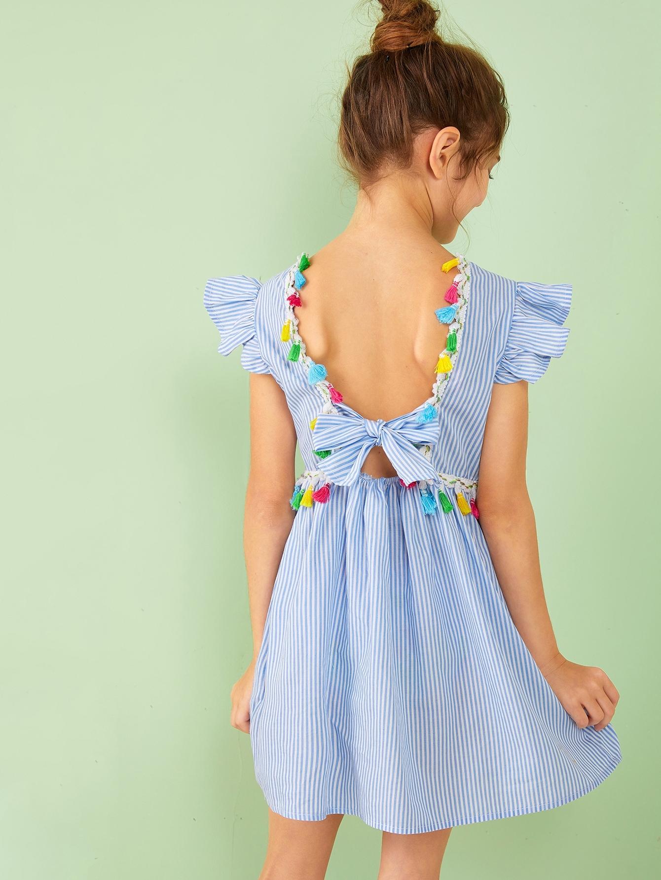 Фото - Полосатое платье с бахромой и завязкой для девочек от SheIn цвет синие