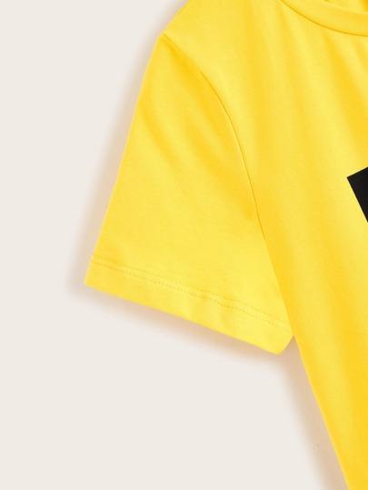 Фото 4 - Топ с узлом, цветочным принтом и шорты от SheIn цвет многоцветный