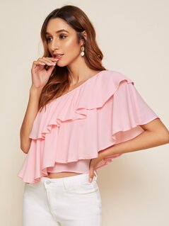 One Shoulder Layered Ruffle Solid Top
