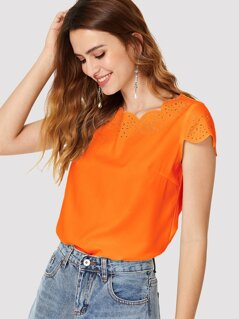 Neon Orange Laser Cut Scallop Edge Top
