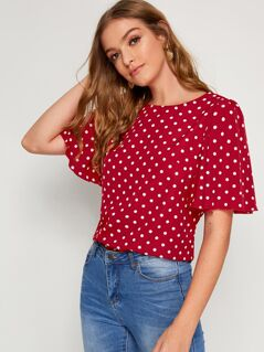 Flutter Sleeve Polka Dot Top
