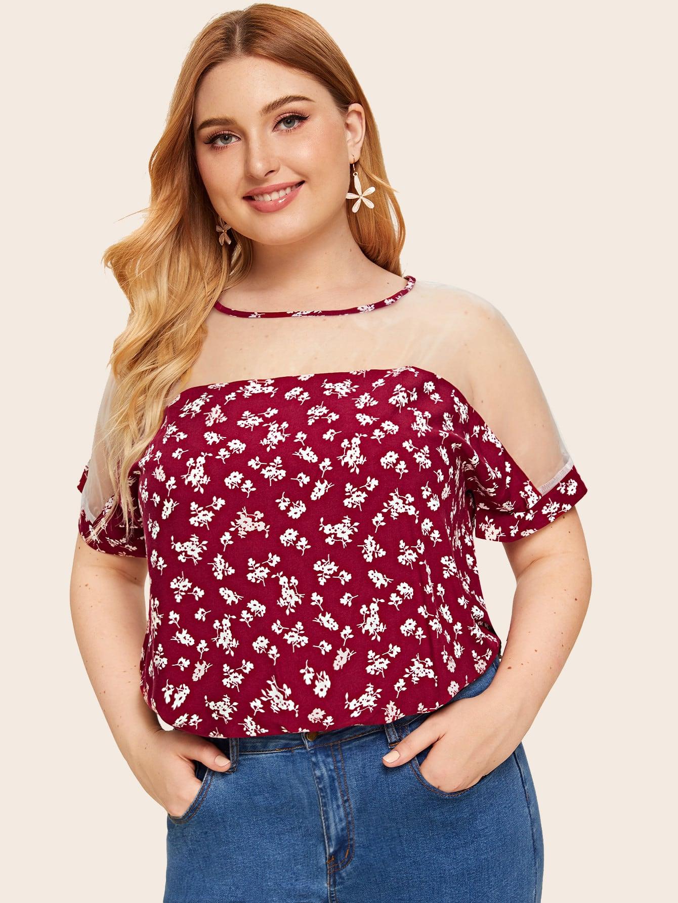 Фото - Блузу размера плюс с сетчатыми вставками и цветочным принтом от SheIn цвет красные