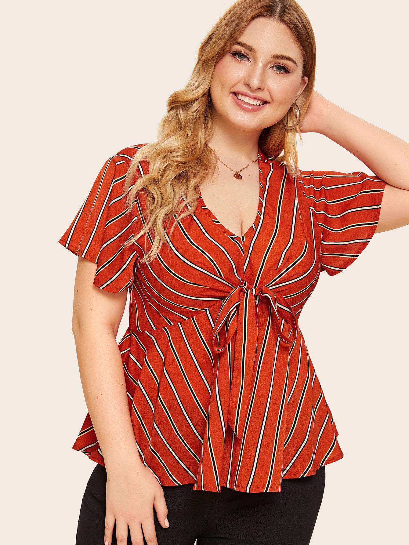 Фото - Блузу в полоску размера плюс с узлом от SheIn цвет красные