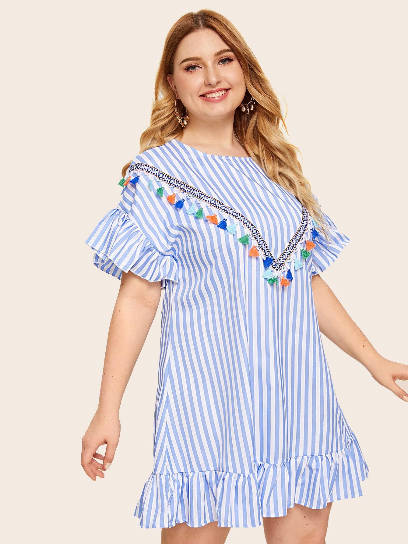 Фото - Платье в полоску размера плюс с оригинальным рукавом и бахромой от SheIn цвет многихцветные