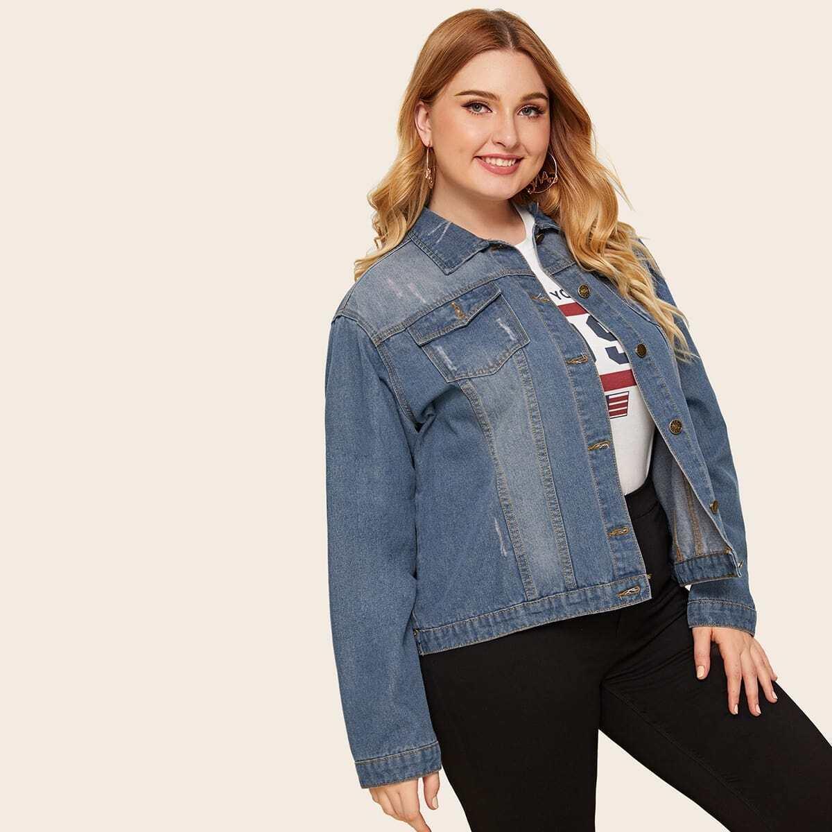 Blauw Casual Vlak Grote maten: jeansjassen Zak