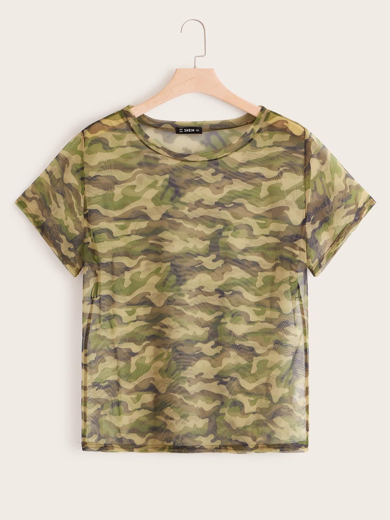 Фото - Сетчатая футболка размера плюс с камуфляжным принтом от SheIn цвет многихцветные