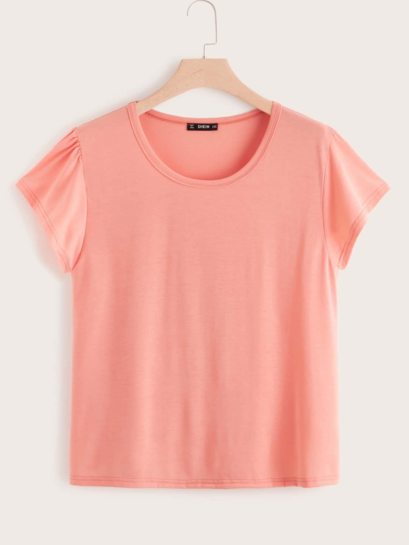 Фото - Однотонная футболка размера плюс с круглым вырезом от SheIn цвет розовые