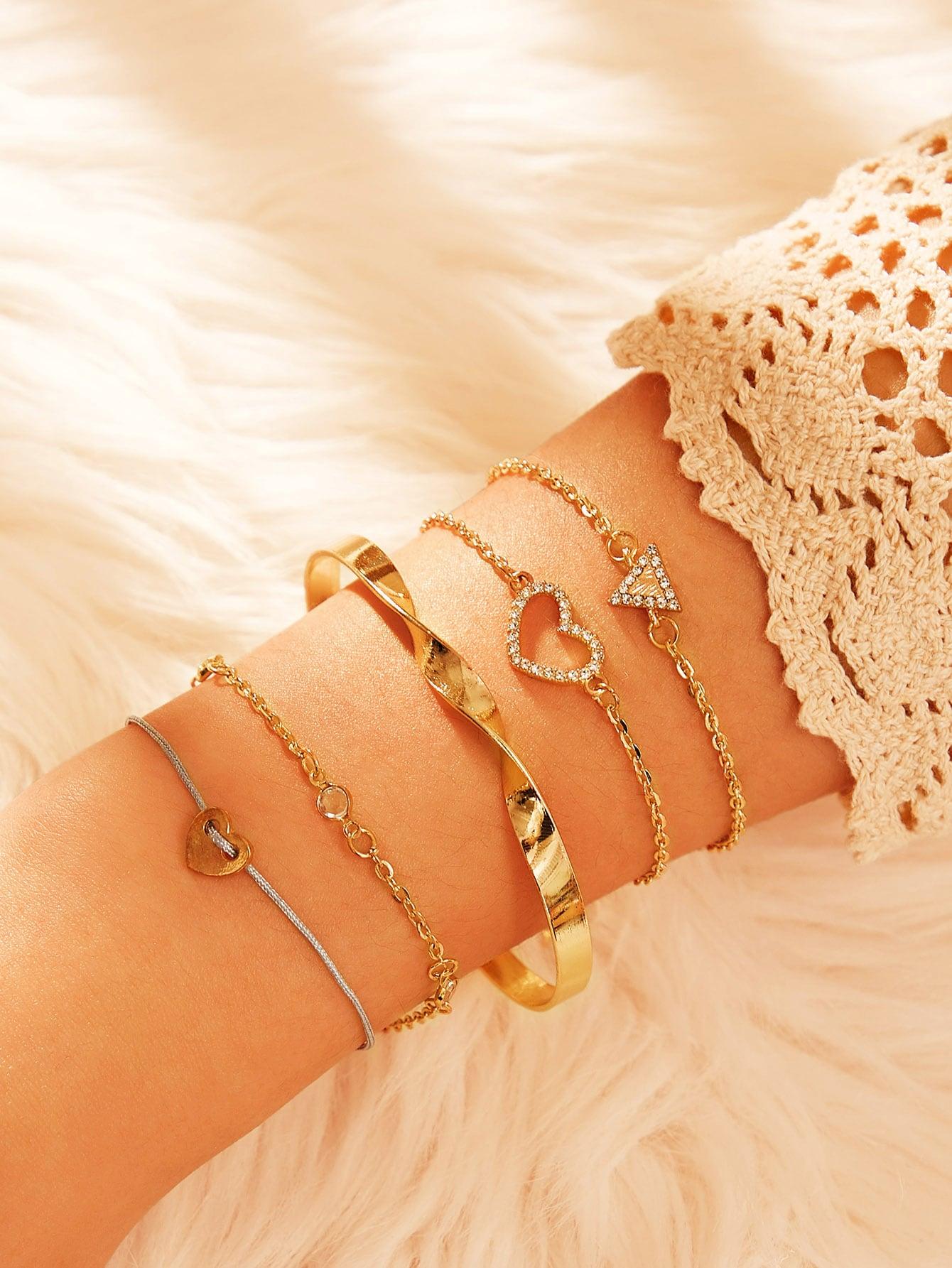 Фото - Геометрический браслет-шарм со стразами 5шт. от SheIn цвет золотые