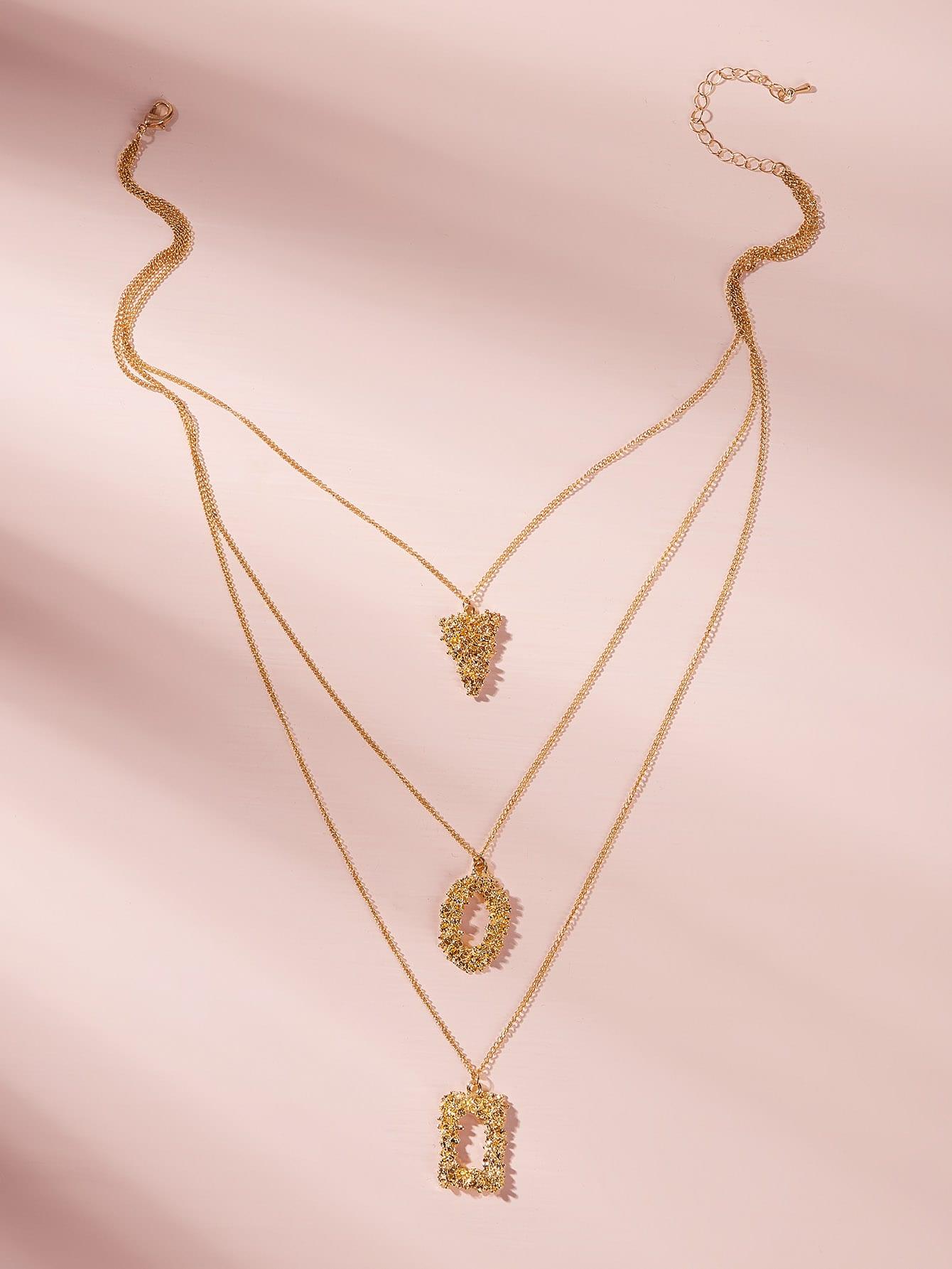 Фото - Геометрическая подвеска многослойная цепочка ожерелье 1шт. от SheIn цвет золотые