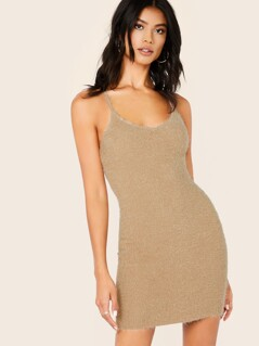 Feather Knit Sleeveless Bodycon Mini Dress