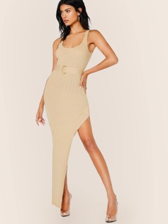 Belted Waist Side Slit Ribbed Maxi Tank Dress