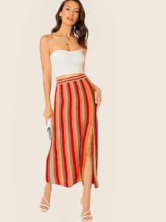 Elastic Waist Metallic Stripe Side Slit Maxi Skirt