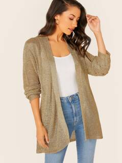 Waist Tie Metallic Knit Cardigan