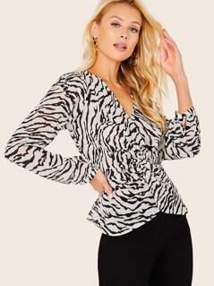 Front Twist Sheer Zebra Chiffon Long Sleeve Blouse