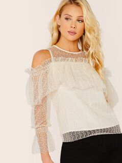 Cold Shoulder Ruffle Embroidered Mesh Blouse