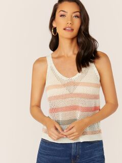 V-Neck Crochet Knit Stripe Tank Top