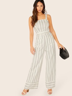 Side Pockets Sleeveless Stripe Belted Jumpsuit