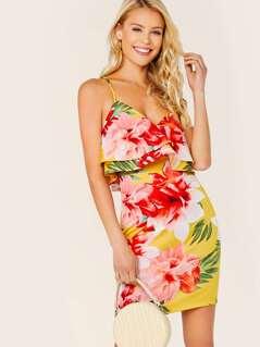 Criss Cross Straps Ruffle Sleeveless Floral Dress