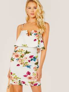 Wired V-Neck Ruffle Floral Sleeveless Dress