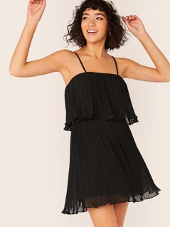 Flounce Hem Pleated Chiffon Slip Dress