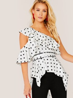 Belted One Shoulder Polka Dot Shark Hem Blouse