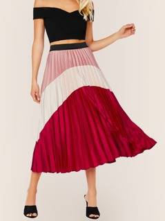 Elastic Waist Colorblock Pleated Midi Skirt