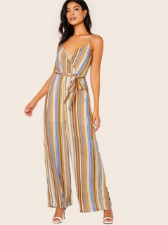 Criss Cross Sleeveless Waist Tie Stripe Jumpsuit