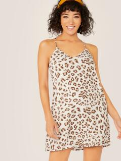 V-Neck Racerback Leopard Sleeveless Shift Dress