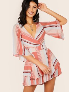 Surplice V-Neck Back Tie Stripe Culotte Romper
