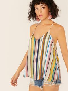 V-Neck Racerback Striped Cami Tank Top