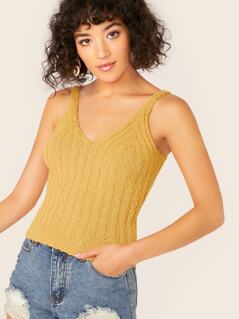 Rib Knit V-Neck Crop Tank Top