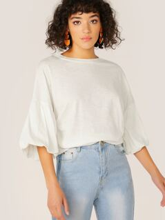Round Neck Bubble Sleeve Jersey T-Shirt