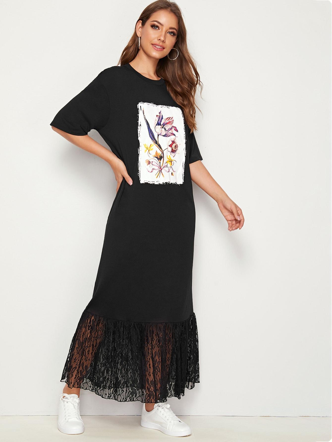 Кружевное платье с графическим принтом