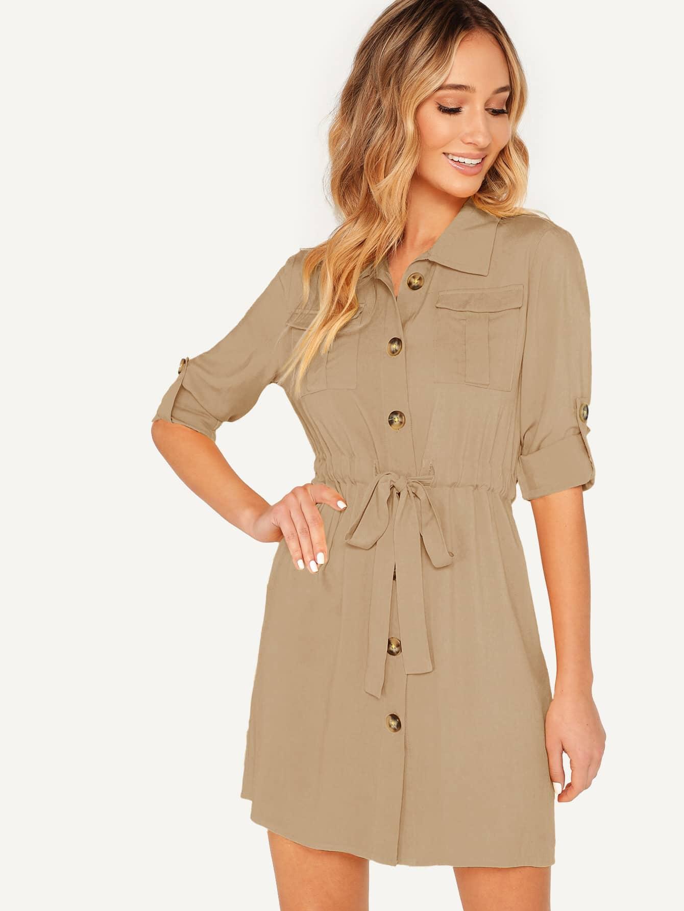 Фото - Платье-рубашка с оригинальным рукавом и карманом от SheIn цвета хаки
