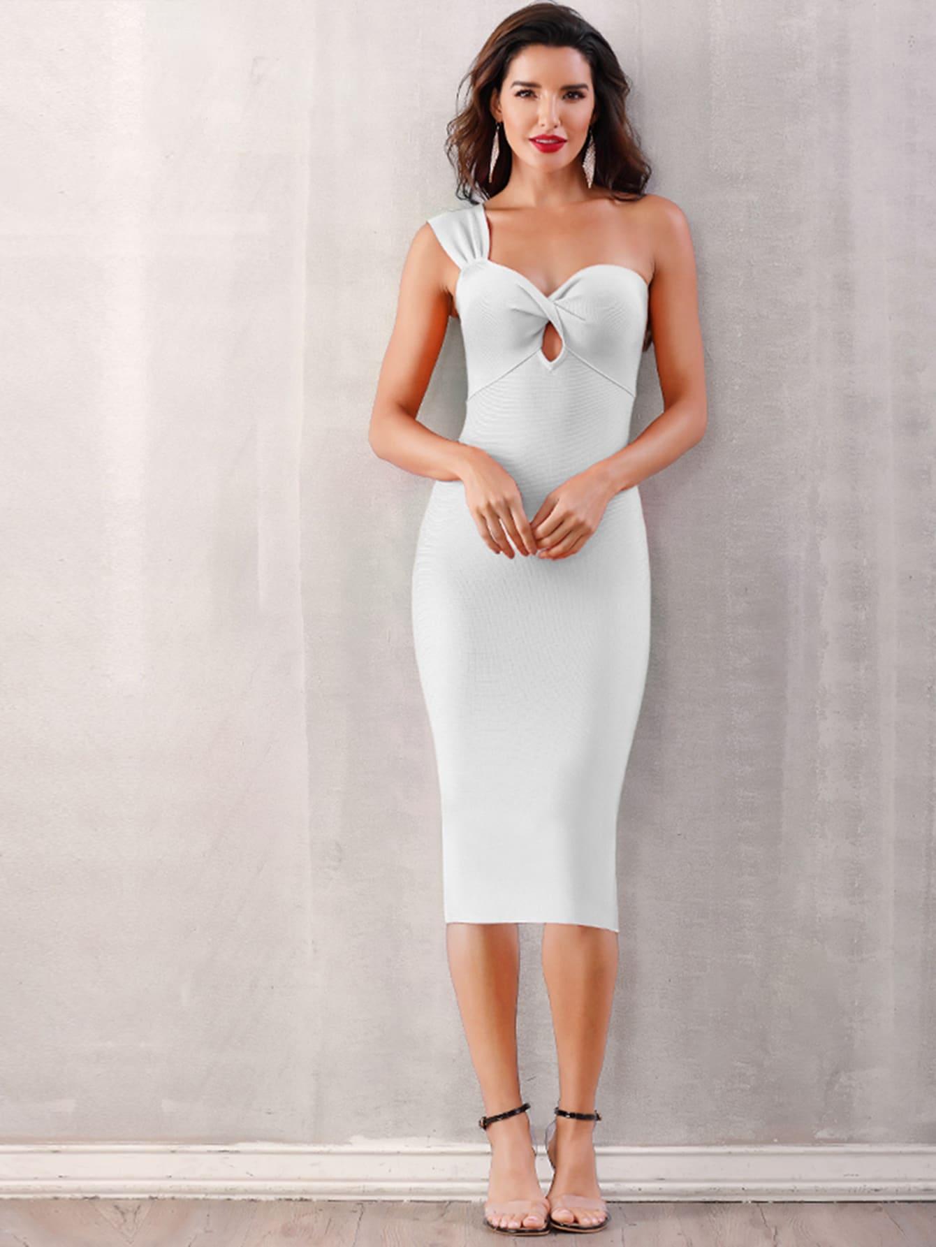 Фото - Adyce облегающее платье на одно плечо с драпировкой от SheIn цвет белые
