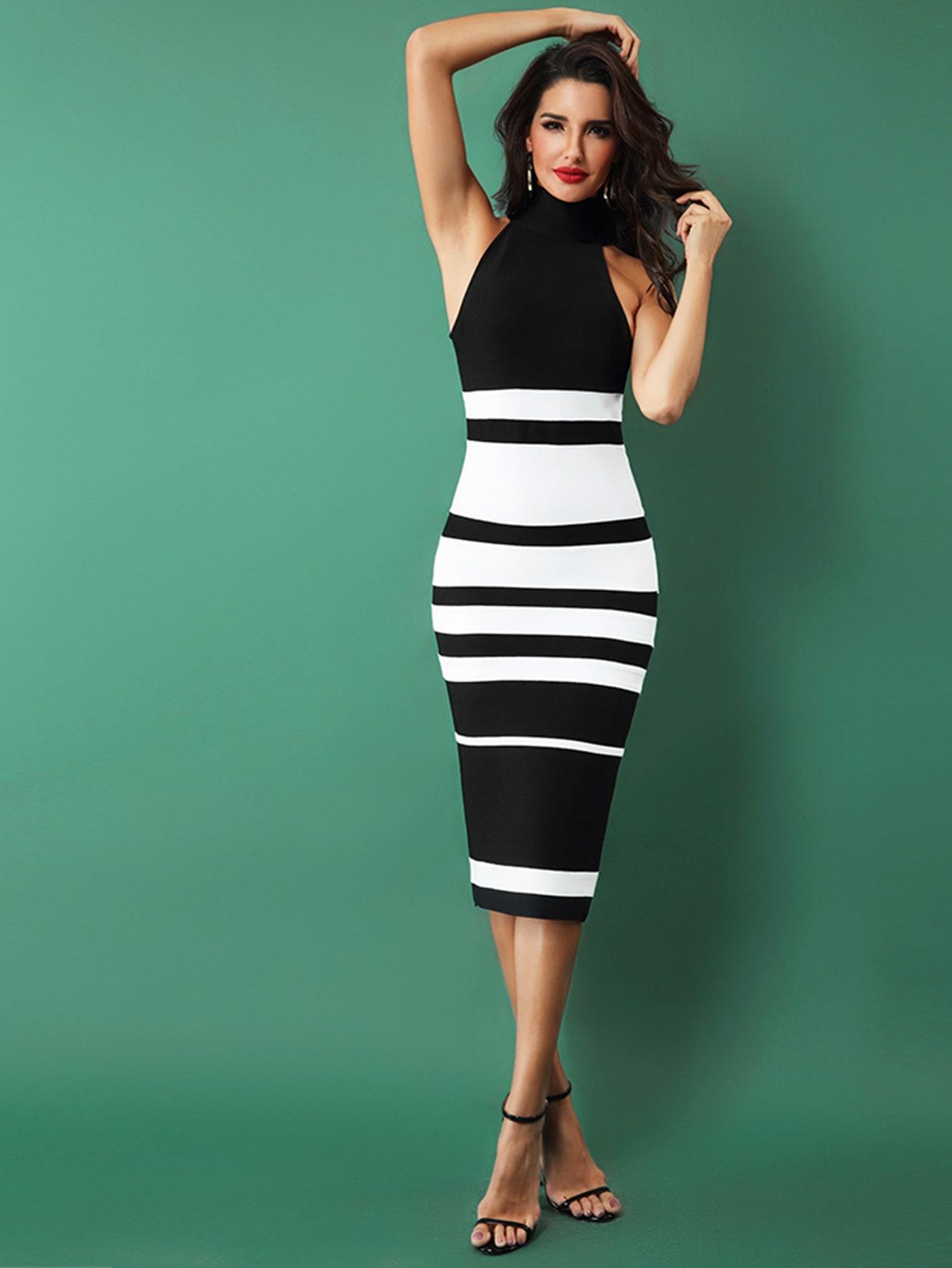 Фото - Adyce облегающее двухцветное платье с молнией от SheIn цвет чёрнобелые